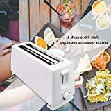 Luccase 4 Slice Toaster (800W) Stainless Steel Extra Wide Long Slot BPA-Free Bread Baking Tool Defrost Reheat Functions Home Breakfast Maker Appliance for Home Kitchen