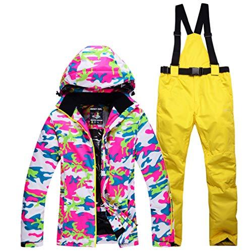 DUBAOBAO Sneeuwpak voor dames, tweedehands snowboard pak Winddicht waterdicht, warm ademend + afneembaar hoedenontwerp + broekriem afneembaar, kwaliteitsborging