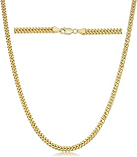 10K Yellow Gold 2MM Franco Square Box Link Chain Necklace- 10K Gold Necklace Franco Chain,10K Necklaces
