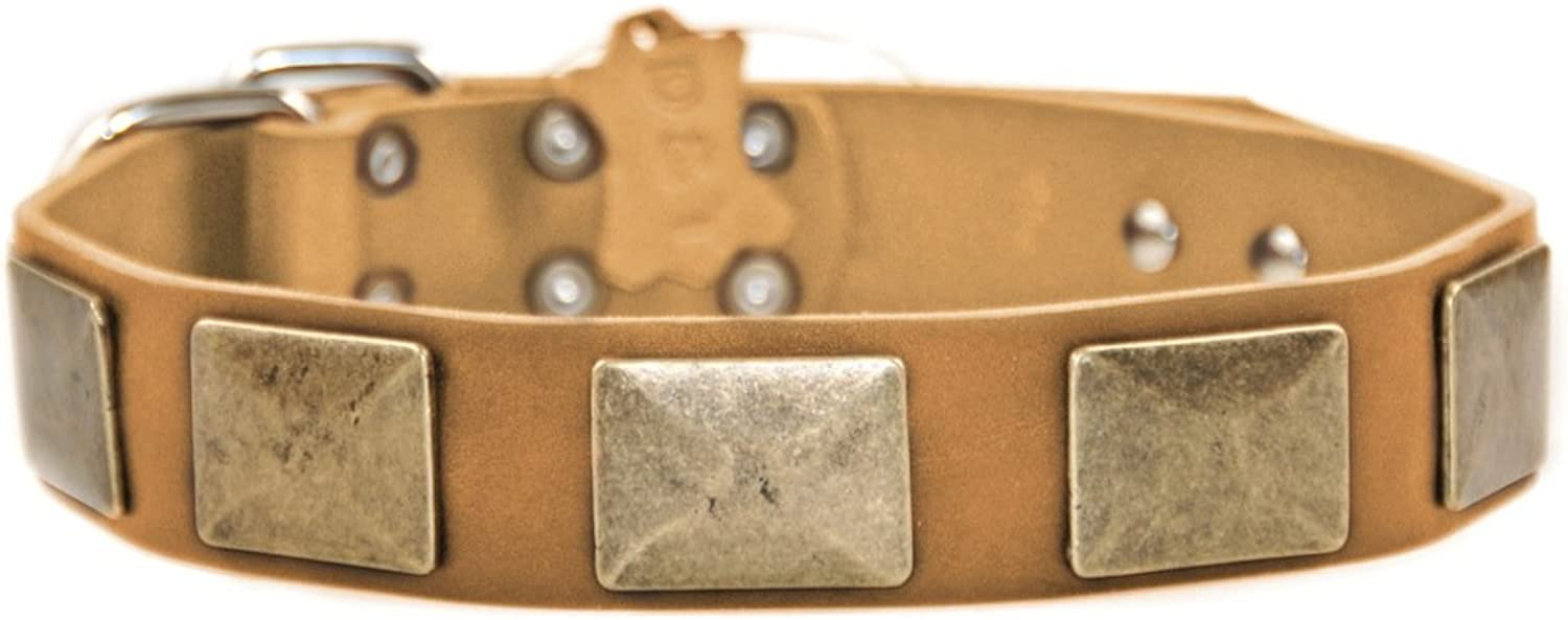 Dean and Tyler  BRASS PLATE  Dog Collar With Nickel Hardware  Tan  Size 46cm by 4cm Width  Fits Neck Size 41cmes to 51cmes.