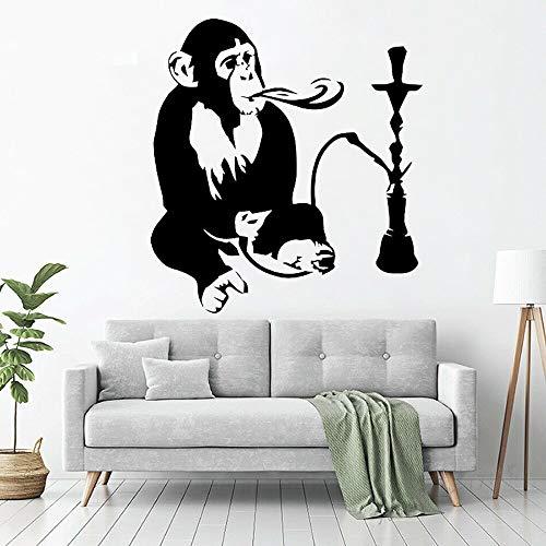 NSRJDSYT Calcomanía de Pared de cachimba, calcomanías de Pared árabes relajantes, Pegatinas de Vinilo de Mono, DEC de Sala de Estar, Mural, DEC de Arte INT 57x61cm