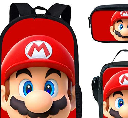 FENGHUO Super Mario Mochila 3 Uds Coloranimal Cool Anime Japan Style Set Mochila Escolar Super Mario Bros Mochila…
