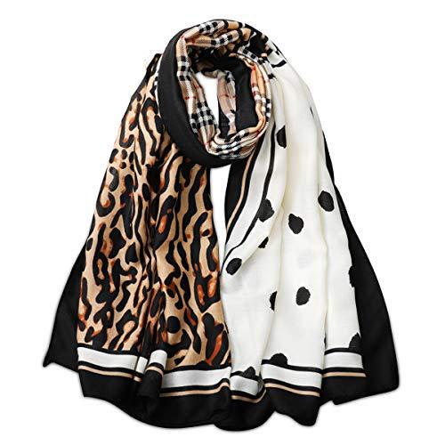 LumiSyne Warme Schal Damen Mode Leopard Kariert Halstücher Weicher Baumwolle Einzigartiger Asymmetrisch Bedruckter Schal Großer Stolen Nackenwärmer Herbst Winter