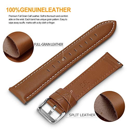 12 Colors for Quick Release Leather Watch Band, Fullmosa Axus Genuine Leather Watch Strap 22mm Brown