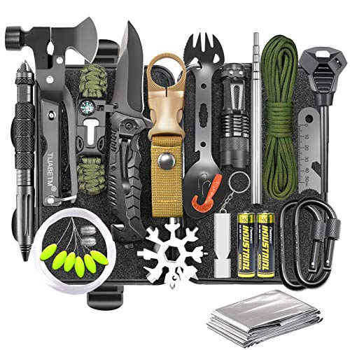 Gifts for Men Dad Husband, Survival Gear and Equipment Kit 30 in 1, Cool Gadget Tactical First Aid...