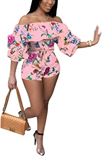 b8cdfa088c1 Deloreva Women Sexy One Piece Romper Outfits Pull Sleeve Floral Print Off  Shoulder Short Jumpsuit Pants