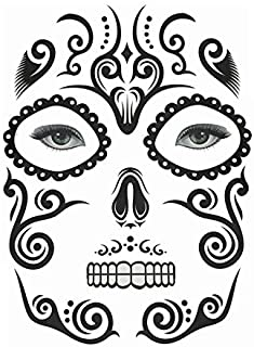 XGao Halloween Face Sticker Day of The Dead Face Tattoos, 1 Sheet Sugar Skull Face Tattoo Decals for Halloween Makeup Stickers Party Floral Red Roses Skeleton Decal