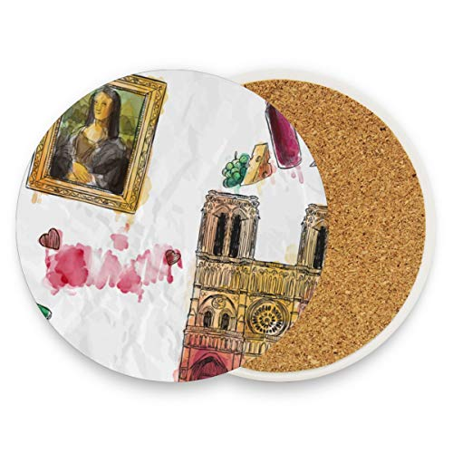 FANTAZIO Mona Lisa Triomfboog Cup Mat Coaster voor Wijnglas Thee Coaster met variërende patronen Geschikt voor soorten mokken en bekers 2 pieces set 1 exemplaar