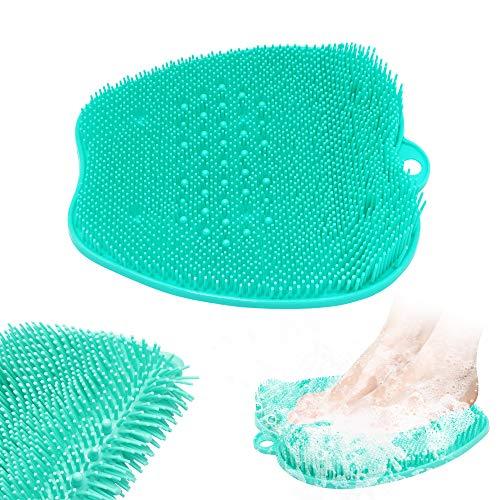 Dusch fußmassagegerät Scrubber,Dusch fußreiniger fußwäscher Fuß wasch pad mit saugnapf für duschboden (green)