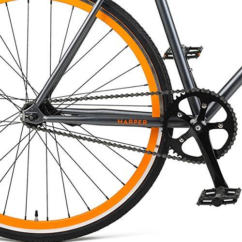 Retrospec Harper Single-Speed Fixie Style Urban Commuter Bike with Coaster Brake, Graphite & Orange 49cm, S
