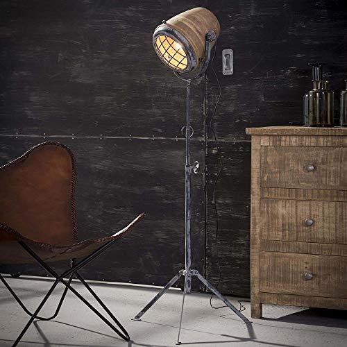 famlights Lenia Staande lamp van massief mangohout en metaal E27