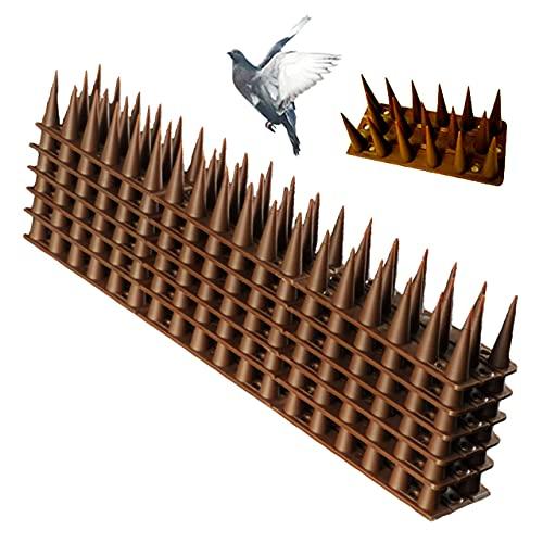 Mikuru 鳥よけグッズ トゲマット スパイク 針 鳩よけ カラスよけ 猫よけ 鳥害対策 ベランダ 屋根 庭 14枚セット (ブラウン)