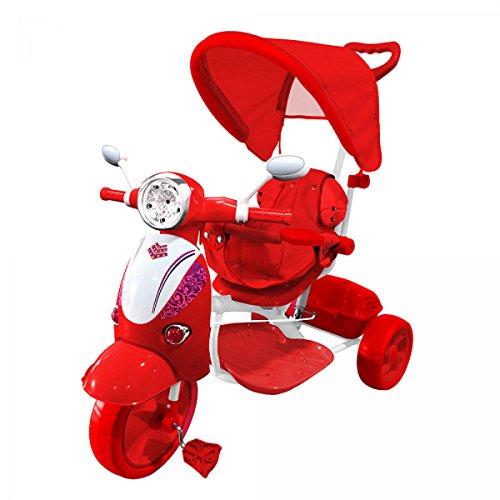 LGVSHOPPING Moto Triciclo a Spinta con Pedali Trico Special per Bambini Bicicletta Vespa Vespina 2 in 1 (Rosso)