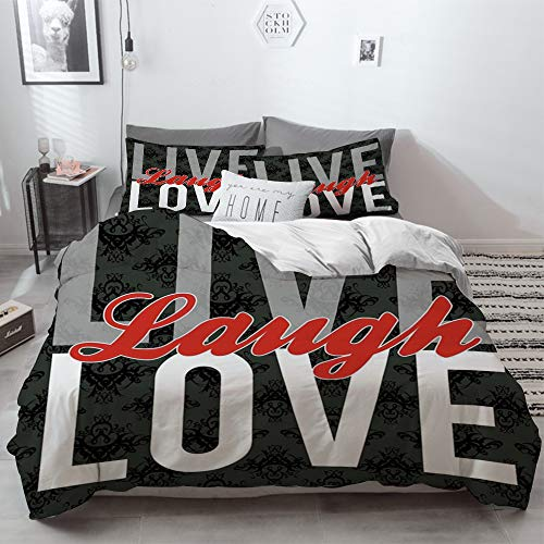 3 Piece Duvet Cover Set No Wrinkle Ultra Soft Bedding Set,Live Laugh Love Decor,Different Typed Words of Wisdom Victorian Antique Damask Motifs T,2 pillowcase 50 x 75cm 1 Pc Bed sheet 230 x 220cm