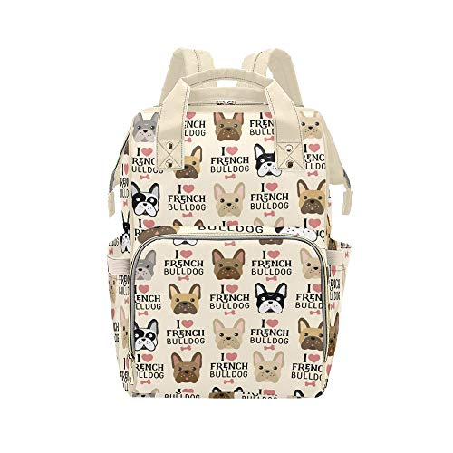 French Bulldog Diaper Bag Nappy Bag Nursing Baby Bags Mommy Backpack Casual Travel Bag for Mom Girl Gifts