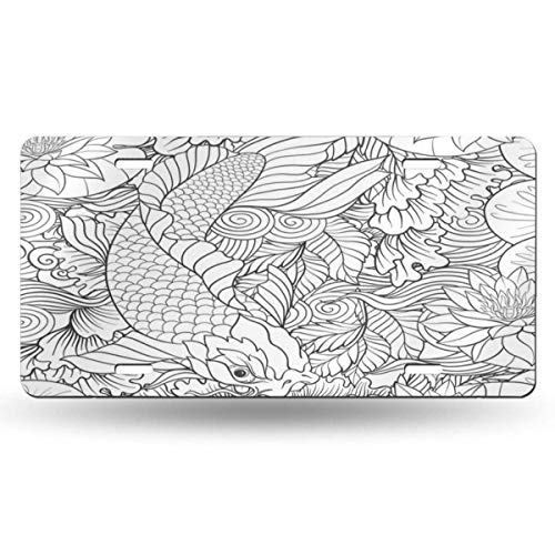 BRIGHT JUNAY Cool Metal License Plate,Oriental Japanese Carp in Lake with Lotus Flowers Outline Drawing Coloring Page Book Adult Asia Car Front License Plate 6 Inch X 12 Inch