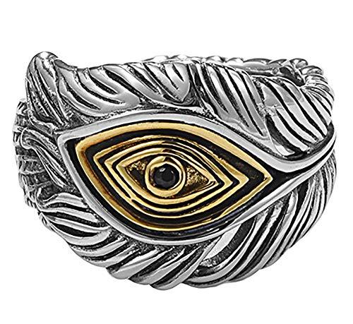 CHXISHOP Herren Sterling Silber Ring, 925 Silber Open Einstellbare Federauge Ring, Paar Ring Hochzeit Verlobungsring Silber Schmuck für Freund Geschenk. Black Eyes