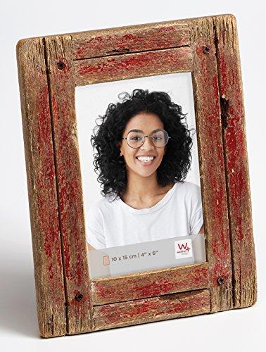 walther design Dupla Portraitrahmen 10x15 cm, rot/natur