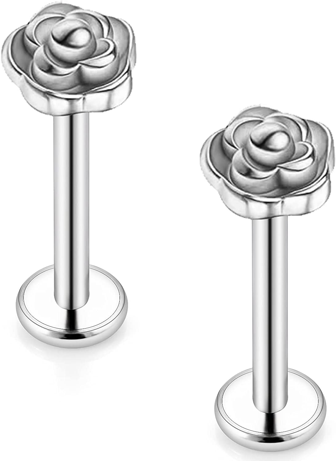 Gnznzko 16G Lip Rings Piercing Stainless Stu Steel Labret Luxury goods Quantity limited Flower