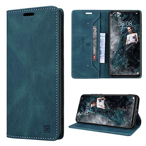 GANKER Handyhülle für Huawei P30 Lite Hülle Premium Leder [RFID Schutz] Flip Hülle Magnetisch Klapphülle Lederhülle TPU Bumper Schutzhülle für Huawei P30 Lite/P30 Lite New Edition Hülle - Blaugrün