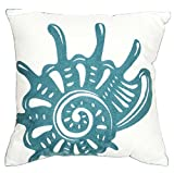 DECOPOW Embroidered Conch Throw Pillow Covers,Square 18 Inches Decorative Canvas Pillow Cover for Nautical Conch Style Deco by (Seagreen-Conch)