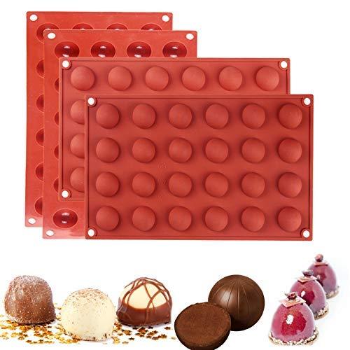 4 paquetes de 24 cavidades semi esferas de silicona molde/chocolate caliente bombas molde/media bola hornear molde para hacer magdalenas..