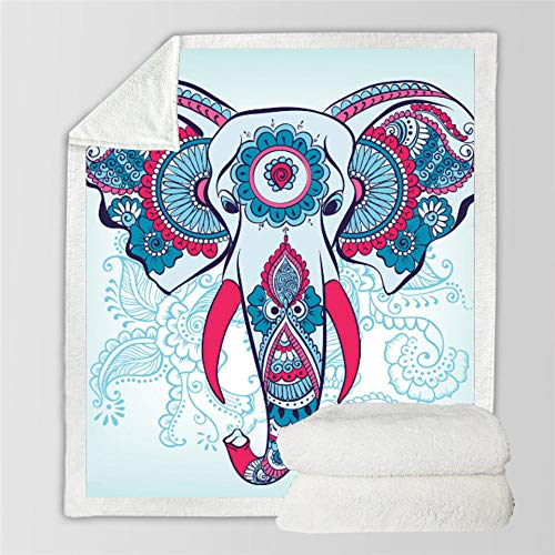 3D Printed Blanket,Abstract Colorful Elephant Head Square 3D Digital Printing Design Bed Blanket Soft Warm Microfiber Bedding For Sofa Bed Couch Beach Picnic Travel,70×100Cm/27.5×39.4Inch