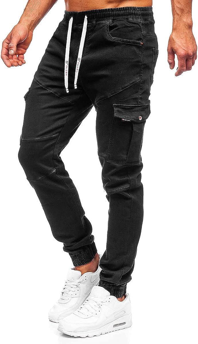 BOLF Hombre Pantalón Vaquero Jogger Denim Jeans Pantalón de Mezclilla Sombreado Vaqueros de Algodón Slim Fit Estilo Casual Mix 6F6