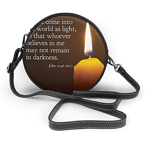 TURFED Bibelverse Schrift Zitate Brennende Kerze Mode Runde PU Crossbody Handtasche Runde Umhängetasche Für Frauen Mädchen