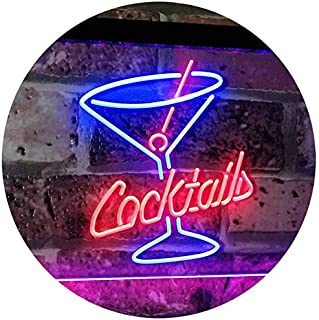 ADVPRO Cocktails Glass Bar Club Beer Décor Dual Color LED Neon Sign Blue & Red 16