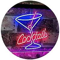 Cocktails Glass Bar Club Beer Décor Dual Color LED看板 ネオンプレート サイン 標識 青色 + 赤色 600 x 400mm st6s64-i2112-br