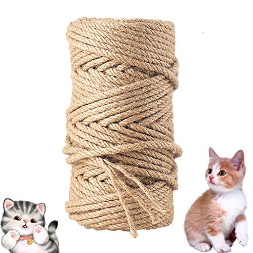 ETHEL Sisalseil,Natur Sisal Seil für Katzen,Natural Sisal Seil Kratzbaum Zubehör, für Katzen, Kratzseil, Gartenbündelung (50m)