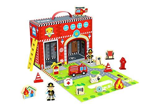 Tooky Toy Jeux en bois - Caserne de pompiers en bois