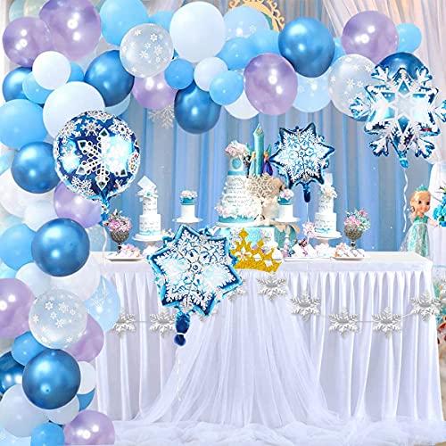 Hongyans Decorazioni Compleanno Frozen Ghirlanda Arco di Palloncini, Blu Viola Palloncini Fiocco di Neve Decorazione per Festa di Compleanno Natale Invernale Ragazze Principessa Elsa Cosplay (90 Pz)