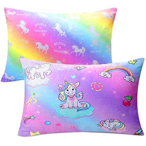 Sylfairy Kids Toddler Pillowcase 2 Pack 14 x 19 Fit for 13 x18, 12 x16 Pillow, Baby Girls Boys Child Infant Super Soft Unicorn Pillow Case(Rainbow+Purple)