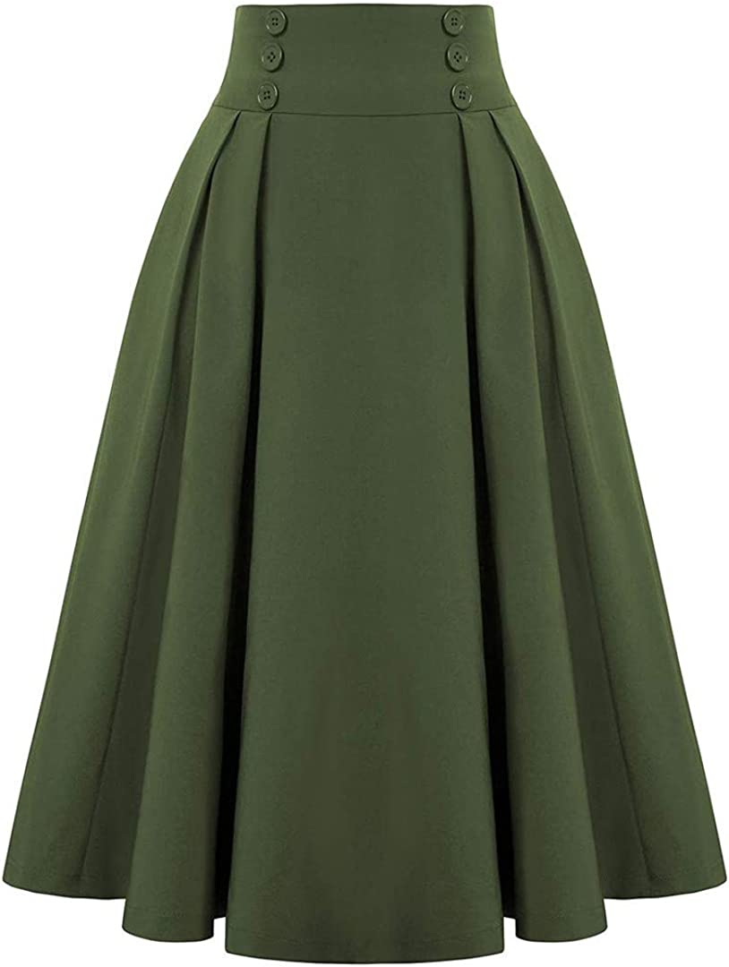 Spring Vintage Skirt Women Casual A- Line Skirt with Pockets Elastic High Waist Long Pleated Skirts Female