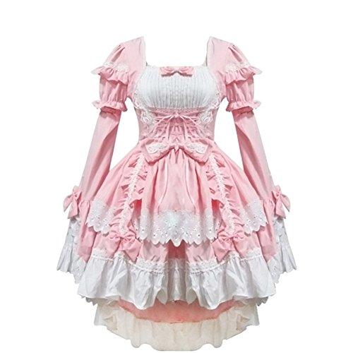 zhiqing rosa Anime - Lolita - Gothic - mädchen Halloween verkleiden Cosplay - kostüme schickes Kleid (Rosa)