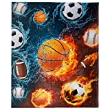 Sports Throw Blanket, Fleece Basketball Baseball Football Soccer Throw Blanket, Cool Extra-Large Sports Blanket for Boys, Kids, and Children, (50in x 60in) Warm and Cozy Fire and Water Ball Blanket