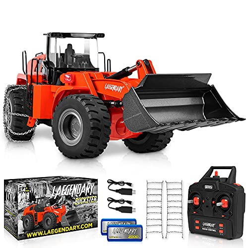 1:14 Scale 22 Channel Full Functional Remote Control Front Loader Construction Tractor, Full Metal Bulldozer Toy - Can Dig up to 3.5Lbs