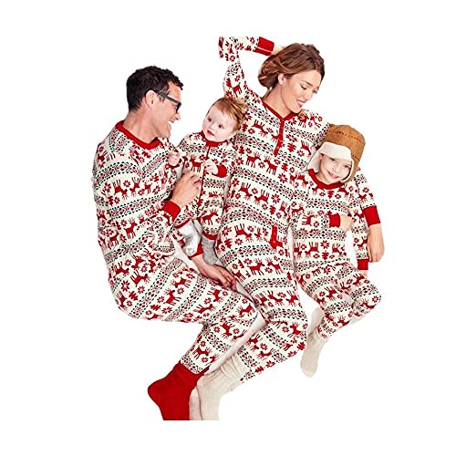 Christmas Pjs for Kids Matching Christmas Pajamas for Family Deer Tree Printed Pants Long Sleeve Red Sleepwear (Color : Dad 3XL)