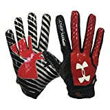 Under Armour New Mens Spotlight Receiver Football Gloves Red/Black Size XL
