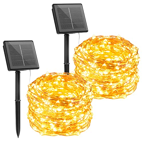 Outdoor Solar String Lights, 2 Pack 33Feet 100 Led Solar Powered Fairy Lights with 8 Lighting Modes...