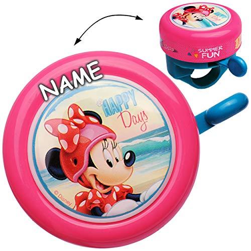 alles-meine.de GmbH Fahrradklingel -  Minnie Mouse  - incl. Name - universal auch für Roller, Scooter und Dreirad Laufrad / Kinderfahrrad -Kinder Mädchen / Lenkerklingel - Maus..