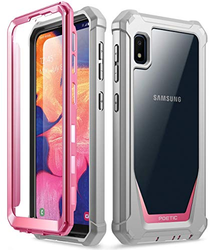 Poetic Galaxy A10E Rugged Clear Case, Full-Body Hybrid Shockproof Bumper Cover, Built-in-Screen Protector, Guardian Series, Case for Samsung Galaxy A10E (2019 Release), Pink/Clear