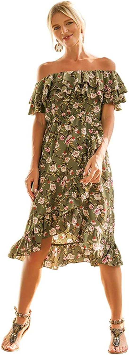 Casual Dress, Wrapped Chest Short Sleeve Open Back Floral Printed Irregular Princess Dress (Green)