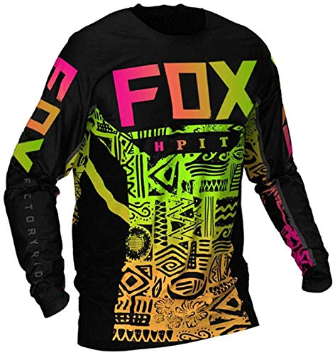 MTB Shirt Acolchado, Fast House Mountain Bike Jersey, Jerseys de Descenso para Hombre Hpit Fox Mountain Bike MTB Shirts Offroad DH Motorcycle Jersey Motocross Sportwear L