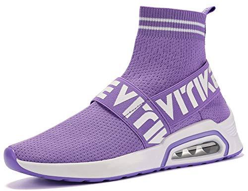 VITIKE Kinder Damen Sneakers Jungen Mädchen Sneaker Damen Sportschuhe Outdoor Schuhe Jungen Turnschuhe Laufschuhe Schnürer Freizeit Schnürer Sportschuhe Kinder Sneaker, 4-violett, 35 EU