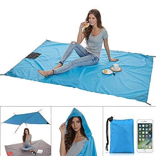 Gutsbox Picknickdecke Wasserdicht Stranddecke Campingdecke mit Tasche für Reisen Picknick Wandern Festivals Blau