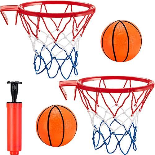 5 Stücke Mini Basketball Korb Set, enthält 2 Stück Spielzeug Basketball Korb Netz, 2 Stück Aufblasbares Mini Basketball und Inflation Pumpe für Schlafzimmer Badezimmer Toilette Büro Desktop