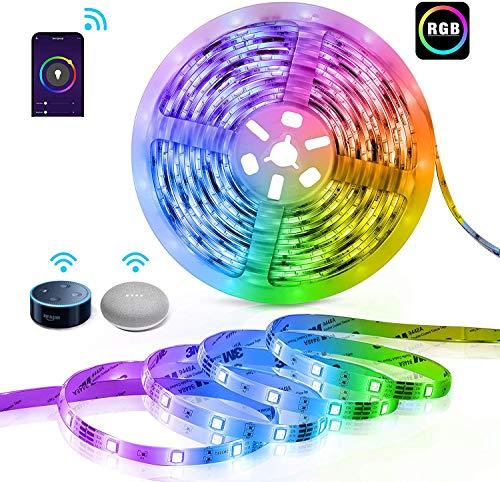 Striscia LED 10M,300LEDs SMD5050 Strisce LED RGB Impermeabile,Alexa Striscia LED Intelligente WiFi,Compatibile con Alexa Echo e Google Home, Funzione Timer, Decorazioni per Natale, Feste, Casa,TV